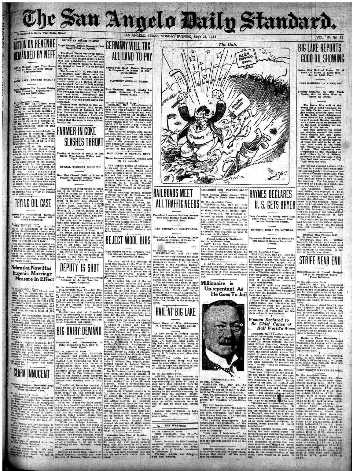 Front page May 28, 1923.