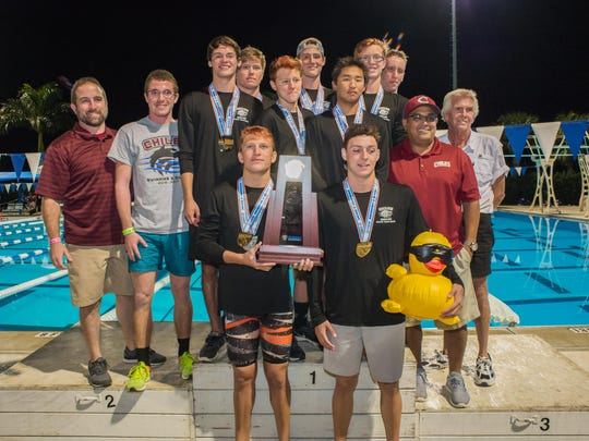 The Chiles boys swimming and diving team captured its first state championship this season, winning the FHSAA Class 3A meet in Stuart. Diver Chase Lane captured his third consecutive state title.