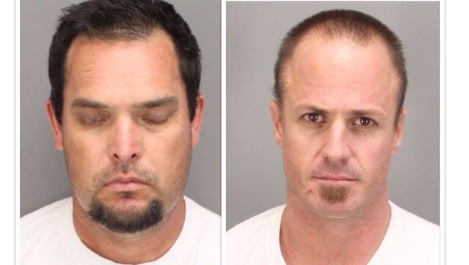 Police have accused Troy Christiansen (left) and Timothy Sikorski of stealing circuit breakers in at least eight burglaries.