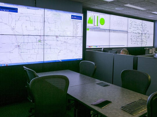 The Iowa Communications Network's Broadband Information Center in Des Moines includes large screens for monitoring.