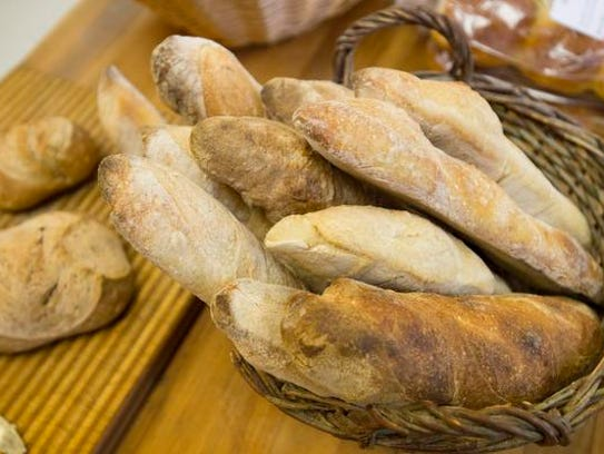 Baguettes await customers at Ingrained Bakery in Wellington