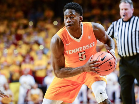 Jan 27, 2018; Ames, IA, USA; Tennessee Volunteers forward Admiral Schofield (5) controls the ball during the first half against the Iowa State Cyclones at James H. Hilton Coliseum. Mandatory Credit: Jeffrey Becker-USA TODAY Sports