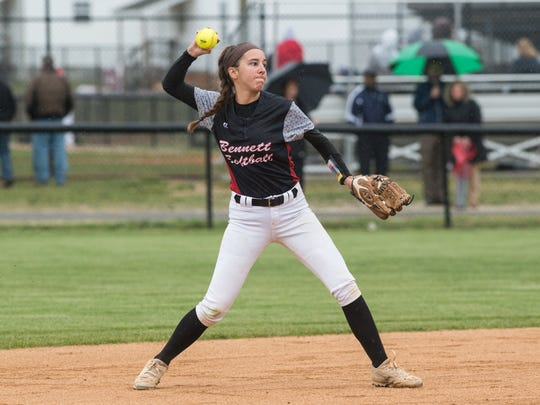 Bennett's Emma Chandler (3) throws the ball during a game against Wi-Hi on Tuesday, April 24, 2018.