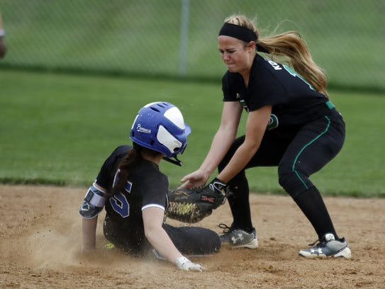 Lampeter Strasburg's Kylie Weaver slides into second