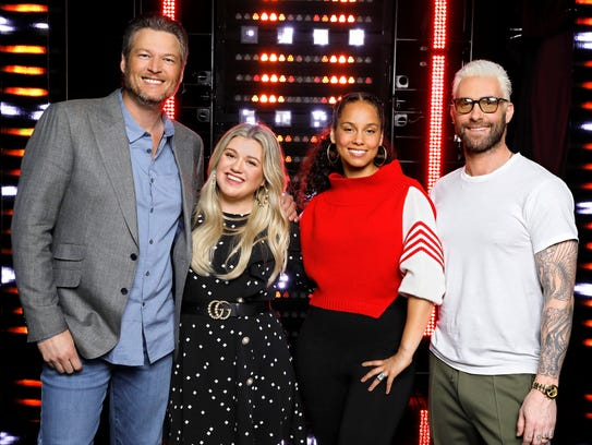 'The Voice' coaches, from left, Blake Shelton, Kelly Clarkson, Alicia Keys and Adam Levine.