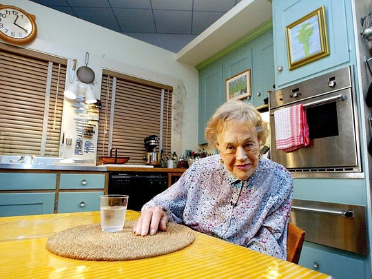In 2002, Julia Child sat in her kitchen after it was moved and rebuilt from her Cambridge, Massachusetts, home as part of an exhibit at the National Museum of American History in Washington, D.C. After deciding to move back to her home state of California, Child donated the kitchen and approximately cataloged 1,200 objects.