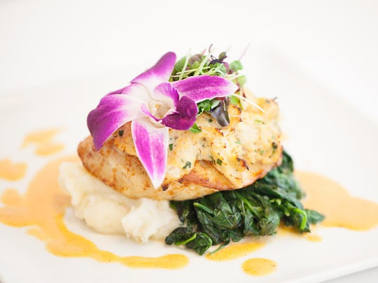The grouper dynamos dish is stuffed with lump crab meat and beautifully presented.