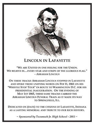 A proposed Lincoln in Lafayette plaque.