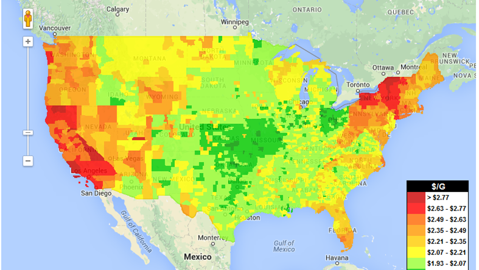 Use This Us Gas Price Heat Map To Design Cheapest Possible Road Trip