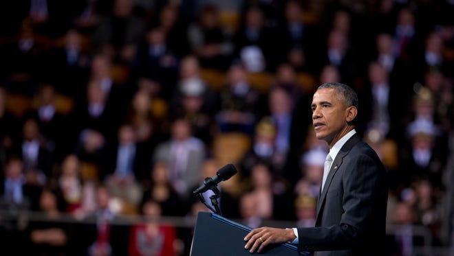 President Barack Obama speaks during the farewell tribute in honor of outgoing Defense Secretary Chuck Hagel at Fort Myer-Henderson Hall in Fort Myer, Va., on Wednesday, Jan. 28, 2015.