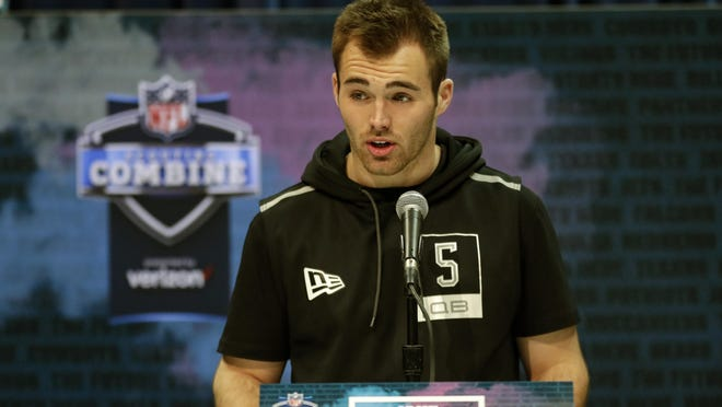 Georgia quarterback Jake Fromm speaks during a press conference at the NFL football scouting combine in Indianapolis, Tuesday, Feb. 25, 2020.