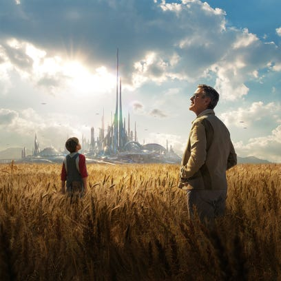 "Pierce Gagnon (left) and George Clooney in the movie poster for ""Tomorrowland."""