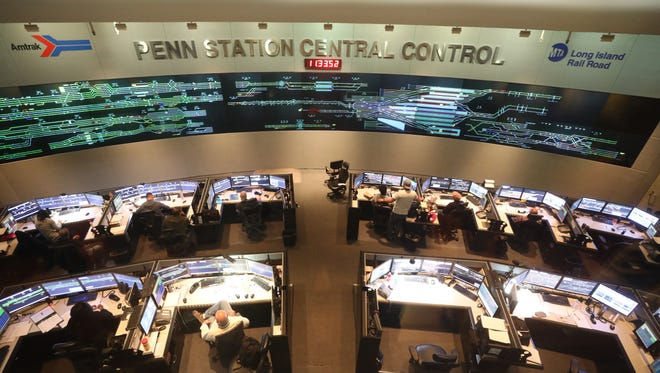 Penn Station Central Control where a wall of monitors tell dispatchers the location of trains coming in and out of Penn Station.