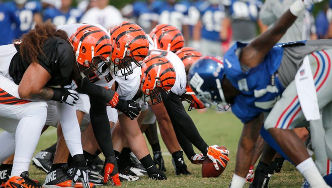 The Bengals and Giants participated in a joint practice Tuesday on the fields adjacent to Paul Brown Stadium.
