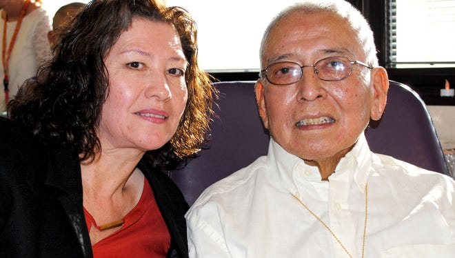 David Begay served in the US Marine Crops during the 1970s. He was joined by his wife of 38 years, Lydia, to witness his daughter's wedding at Raymond G. Murphy Medical Center where he is a patient.