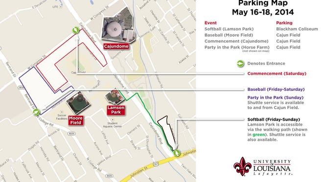 Parking map for this weekend at Cajun Field