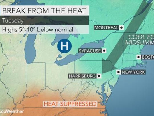 The Lower Hudson Valley will start the week on a cool
