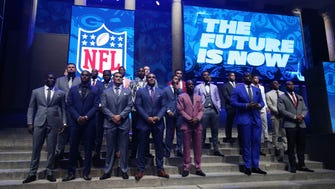 The 2017 NFL draft prospects pose before the start of the first round the 2017 NFL Draft at Philadelphia Museum of Art.