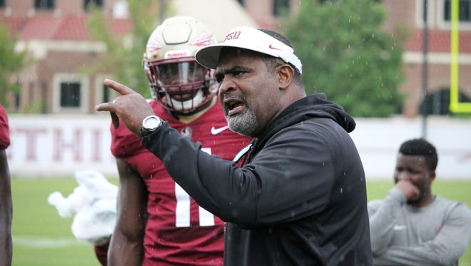 FSU defensive tackles coach Odell Haggins was unhappy with the defensive line during Wednesday's practice.