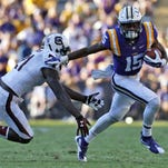 LSU running back Darrel Williams (34) scores a touchdown during the second half of an NCAA college football game against South Carolina in Baton Rouge, La., Saturday, Oct. 10, 2015. LSU won 45-24. (AP Photo/Jonathan Bachman)