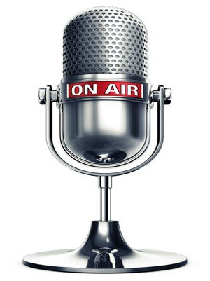 3D illustration of a microphone with a on air icon
