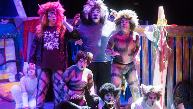 """Pensacola Little Theatre's cast of Andrew Lloyd Webber's musical """"Cats.""""  rehearse for the troupes' ten-performance run of the musical Tuesday evening,  July 18, 2017."""