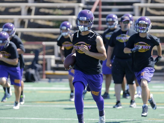 Salinas High School quarterback Mathew Castaneda during football practice Friday at The Pit on campus.