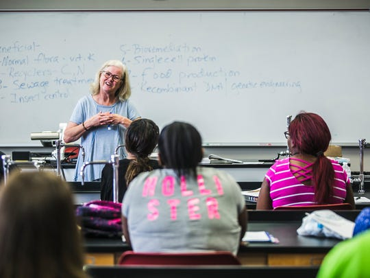 August 29, 2017 - Professor Tresa Lawson teaches her students microbiology on the second day of school at Southwest Tennessee Community College in Downtown Memphis.
