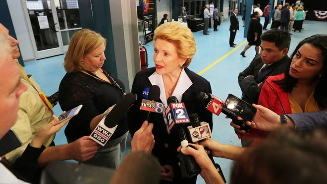 Senator Debbie Stabenow speaks to the press prior to vice presidential candidate Senator Tim Kaine delivering a campaign speech at Focus Hope in Detroit on Tuesday, Oct. 18, 2016.