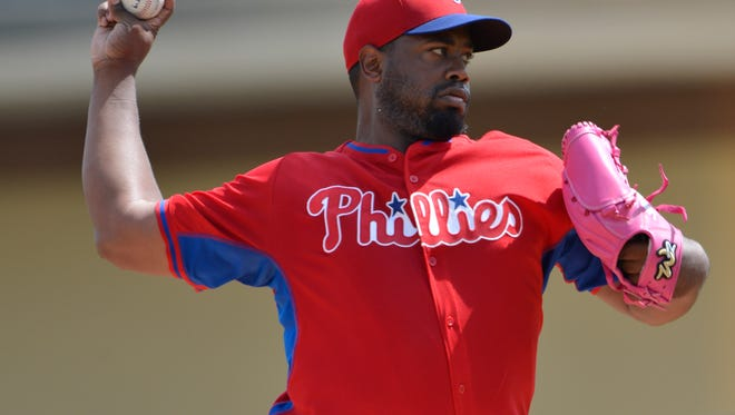 Phillies starting pitcher Jerome Williams (31) pitches during the first inning March 12 against the Detroit Tigers at Joker Marchant Stadium. Credit: Tommy Gilligan-USA TODAY Sports