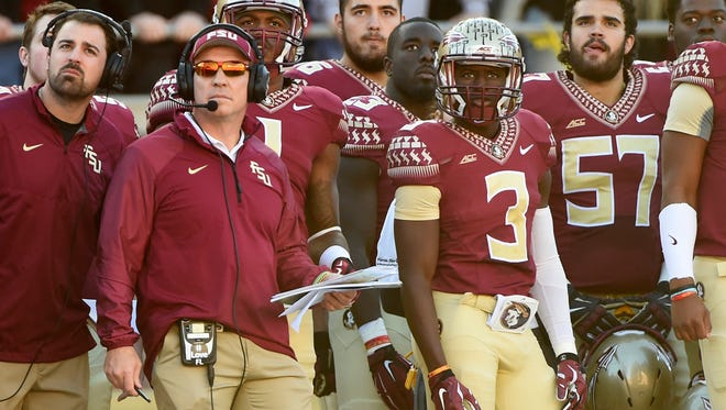 Nov 29, 2014; Tallahassee, FL, USA; Florida State Seminoles head coach Jimbo Fisher stands on the sideline during the first quarter against the Florida Gators at Doak Campbell Stadium. Mandatory Credit: Tommy Gilligan-USA TODAY Sports