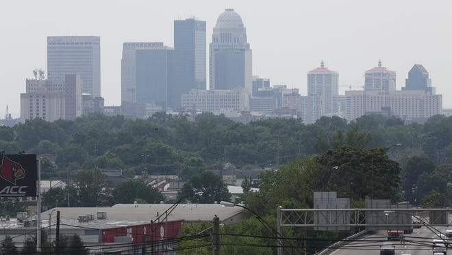 View of smoggy city skyline.June 15, 2016