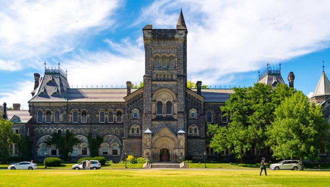 University of Toronto: University College front facade .The landmark is a Designated National Historic Site.