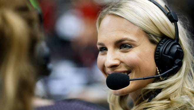 Former Louisville volleyball standout Katie George calls the game on ESPN 3.Sept 15, 2016