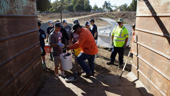 Camarillo city employee David Fernandez, center, helps weigh trash that was collected along the Calleguas Creek during Coastal Cleanup Day activities Saturday in Camarillo.