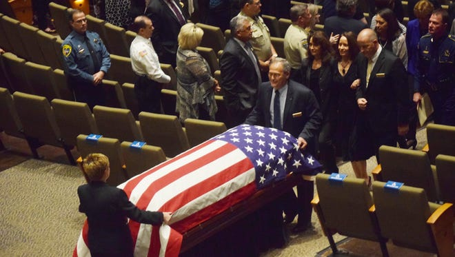 Funeral services for Louisiana State Police trooper Bobby Smith were held Thursday at Calvary Baptist Church in Alexandria.