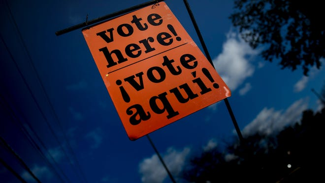 A sign indicates an early voting polling place in Potomac, Md., on Oct. 28, 2016.
