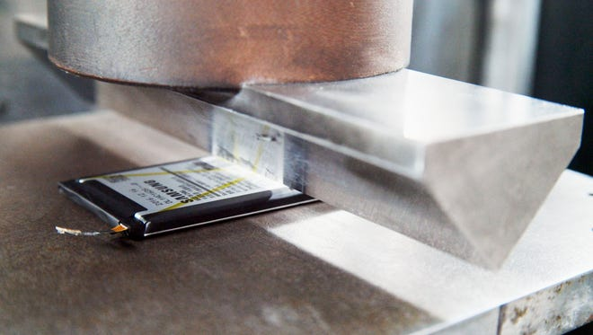 Samsung tests the durability of its batteries at a facility in Gumi, South Korea.