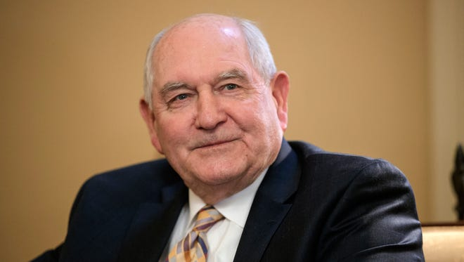 Agriculture Secretary and former Georgia Gov. Sonny Perdue attends a meeting on Capitol Hill in Washington on Feb. 1, 2017.