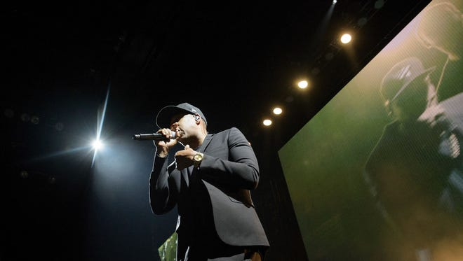 Jay Z performs during a Get Out the Vote (GOTV) performance in support of Democratic presidential nominee Hillary Clinton at the Wolstein Center.