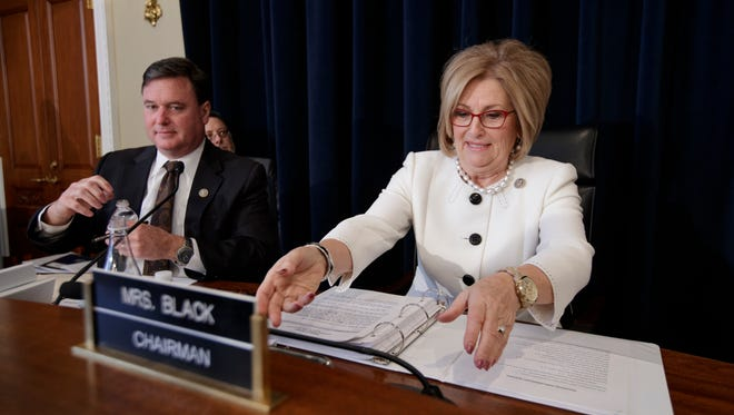 House Budget Chairwoman Diane Black, R-Tenn., joined by Rep. Todd Rokita, R-Ind., hosts a markup on the Republican health care bill on March, 16, 2017.