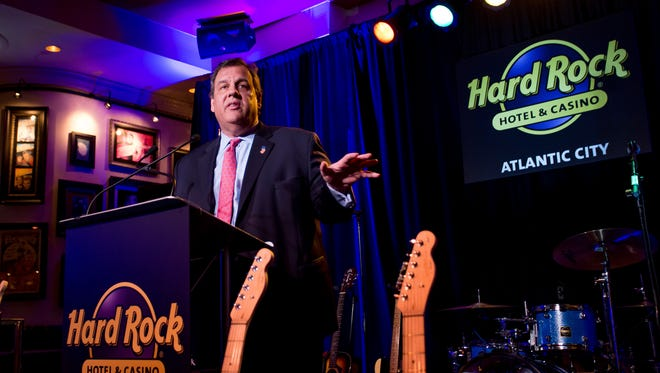 Gov. Chris Christie speaks at the Hard Rock Hotel & Casino Atlantic City Press Conference on Wednesday, April 5, 2017, in Atlantic City.