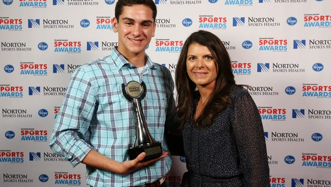 Two-time U.S. Olympic gold medalist Mia Hamm, right, posed with Nick Albiero during the CJ Sports Awards.June 12, 2017