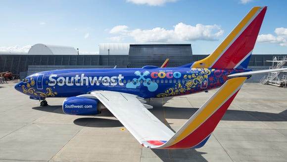 Southwest Airlines unveiled one of its Boeing 737s