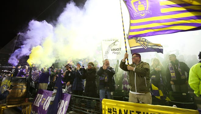 Louisville City FC fans cheered the winning goal as they defeated the Swope Park Rangers 1-0 during the USL championship game.Nov. 13, 2017