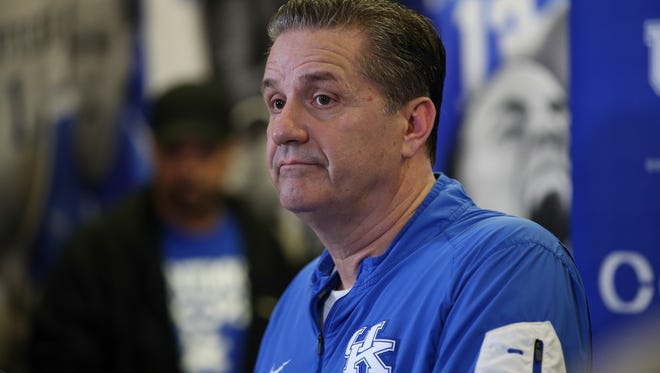 Kentucky coach John Caipari takes questions from reporters during a press conference Friday afternoon in Lexington.February 23, 2018