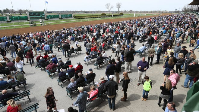 Several thousand people showed up for opening day of the spring meet at Keeneland in Lexington.    