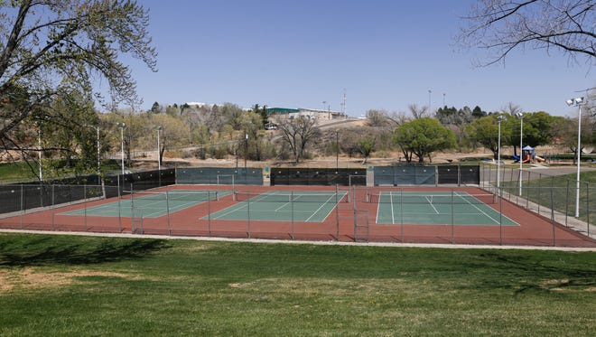 Tennis courts at Brookside Park is pictured on Tuesday, April 17, 2018 in Farmington.