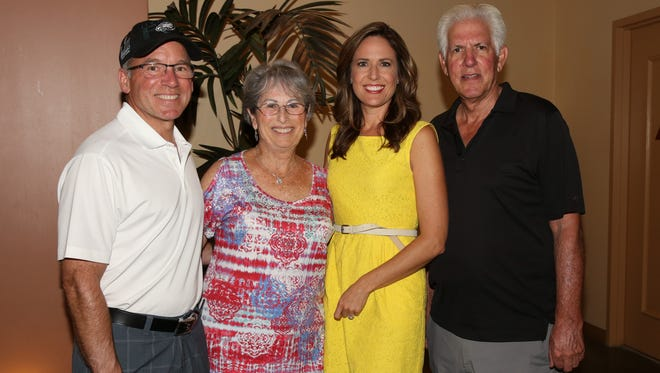 (left to right) Honorary Chair of Event Jay Chesterton, Event Chair Nancy Singer, Event Emcee Brooke Beare, and Richard Balocco, President/CEO of Desert Arc.