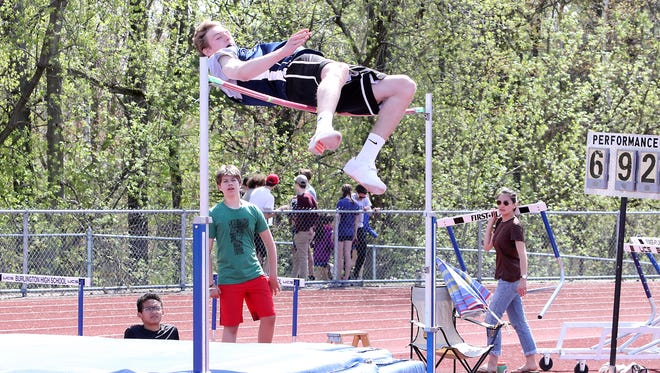 "MMU's Tyler Muttilainen attempts to break his own D1 high jump record he set just 5 minutes earlier. Muttilainen set the record with a jump 6' 8""."